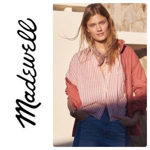 Madewell Central Tie Back Shirt in Rose Stripe